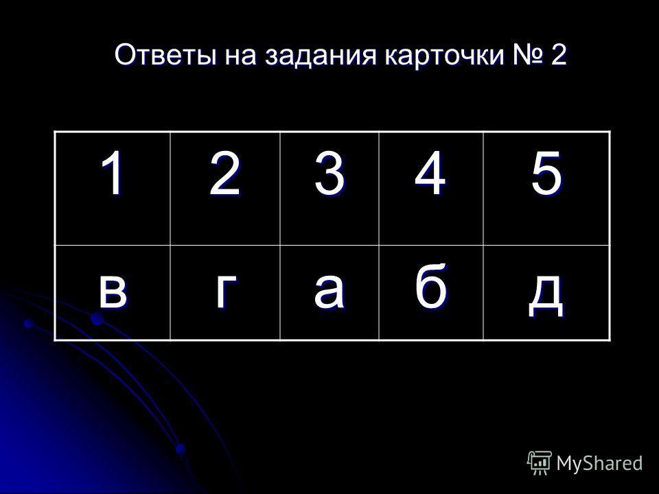 Ответы на задания карточки 2 12345 вгабд
