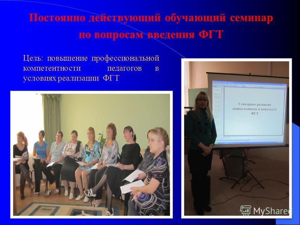 Постоянно действующий обучающий семинар по вопросам введения ФГТ Цель: повышение профессиональной компетентности педагогов в условиях реализации ФГТ