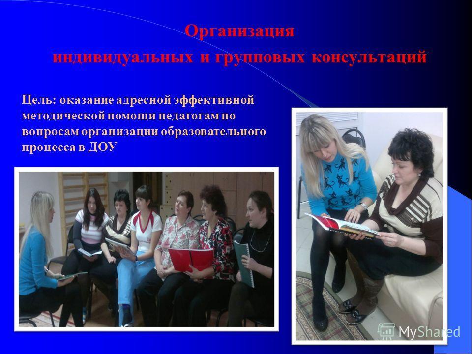 Организация индивидуальных и групповых консультаций Цель: оказание адресной эффективной методической помощи педагогам по вопросам организации образовательного процесса в ДОУ
