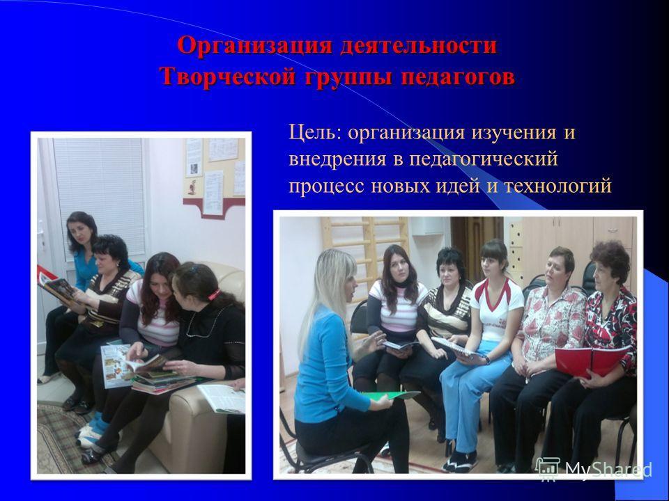 Организация деятельности Творческой группы педагогов Цель: организация изучения и внедрения в педагогический процесс новых идей и технологий