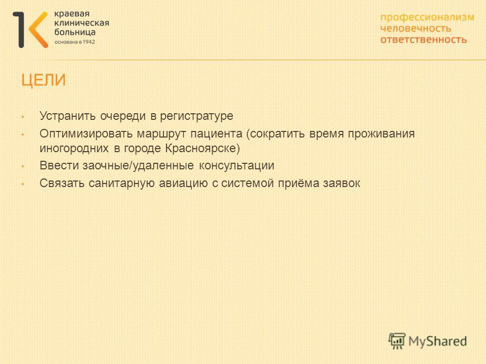Устранить очереди в регистратуре Оптимизировать маршрут пациента (сократить время проживания иногородних в городе Красноярске) Ввести заочные/удаленные консультации Связать санитарную авиацию с системой приёма заявок ЦЕЛИ
