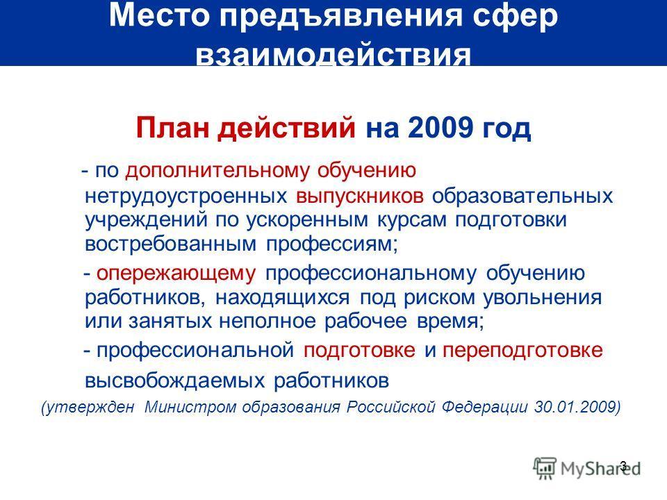 3 Место предъявления сфер взаимодействия План действий на 2009 год - по дополнительному обучению нетрудоустроенных выпускников образовательных учреждений по ускоренным курсам подготовки востребованным профессиям; - опережающему профессиональному обуч