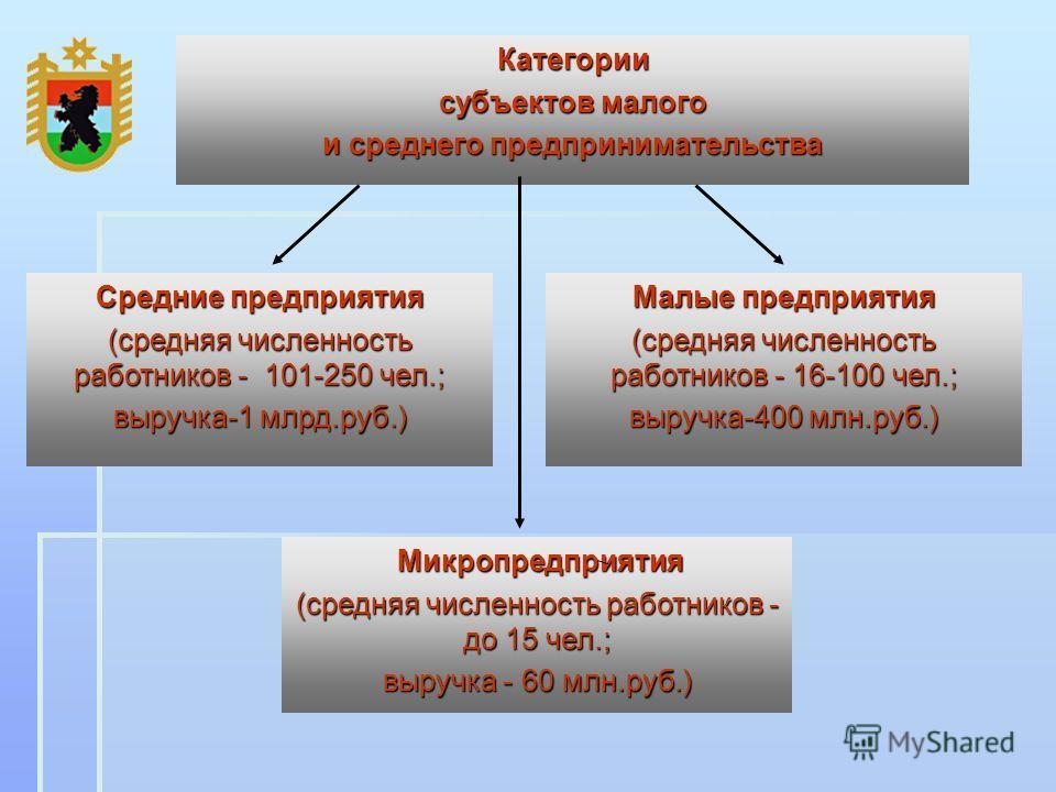 Микропредприятия Микропредприятия (средняя численность работников - до 15 чел.; выручка - 60 млн.руб.) Малые предприятия (средняя численность работников - 16-100 чел.; выручка-400 млн.руб.) Средние предприятия (средняя численность работников - 101-25