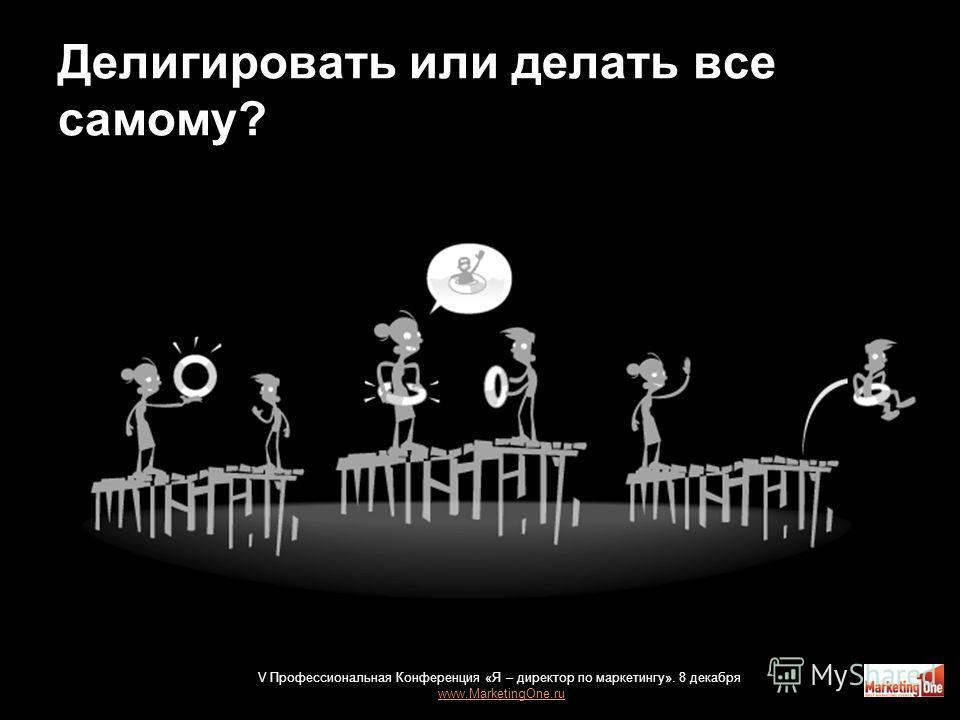 Делигировать или делать все самому? 24 V Профессиональная Конференция «Я – директор по маркетингу». 8 декабря www.MarketingOne.ru