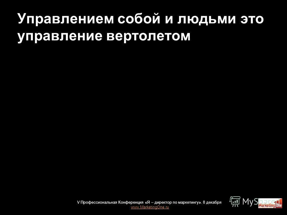 Управлением собой и людьми это управление вертолетом 25 V Профессиональная Конференция «Я – директор по маркетингу». 8 декабря www.MarketingOne.ru