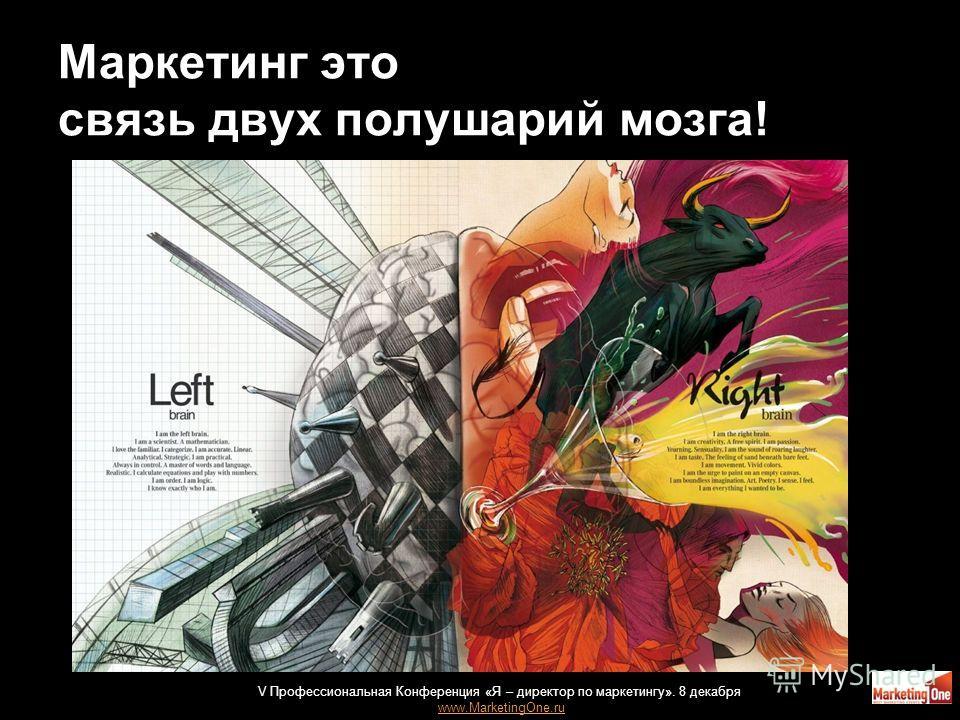Маркетинг это связь двух полушарий мозга! 35 V Профессиональная Конференция «Я – директор по маркетингу». 8 декабря www.MarketingOne.ru