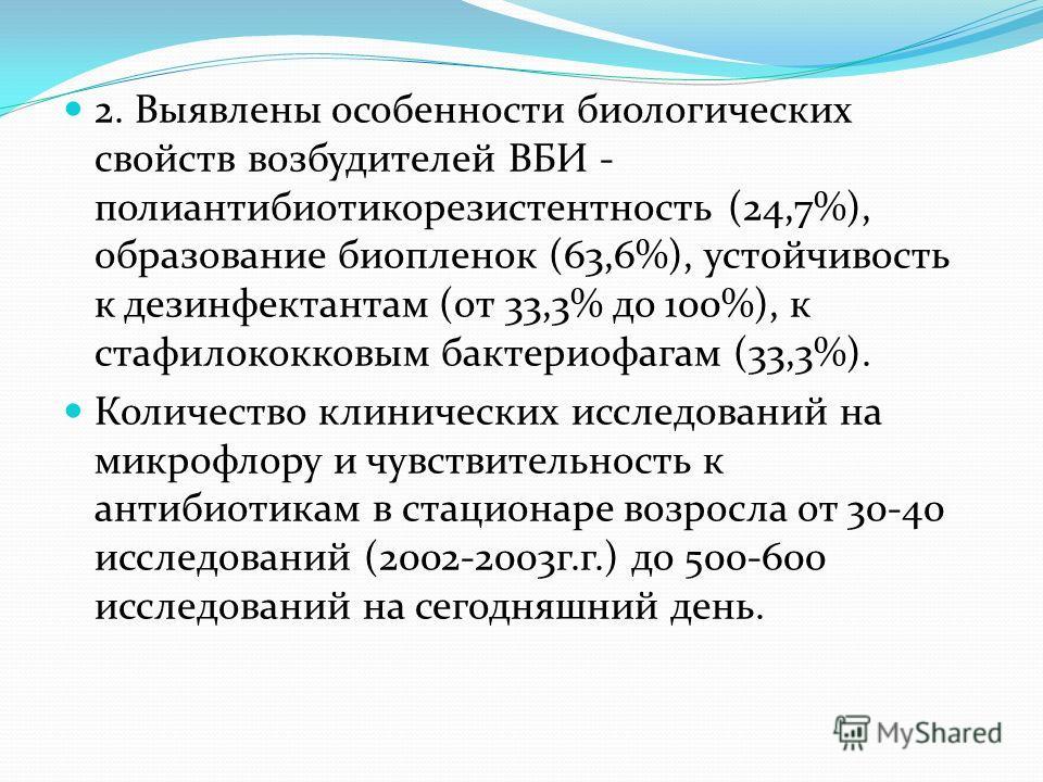 2. Выявлены особенности биологических свойств возбудителей ВБИ - полиантибиотикорезистентность (24,7%), образование биопленок (63,6%), устойчивость к дезинфектантам (от 33,3% до 100%), к стафилококковым бактериофагам (33,3%). Количество клинических и