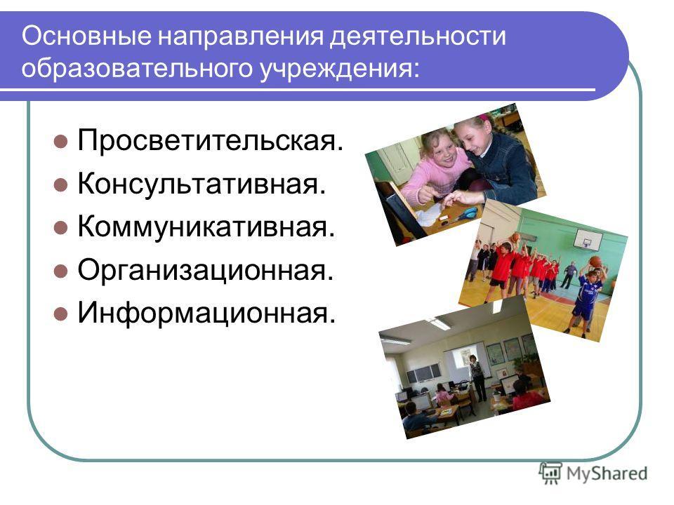Основные направления деятельности образовательного учреждения: Просветительская. Консультативная. Коммуникативная. Организационная. Информационная.