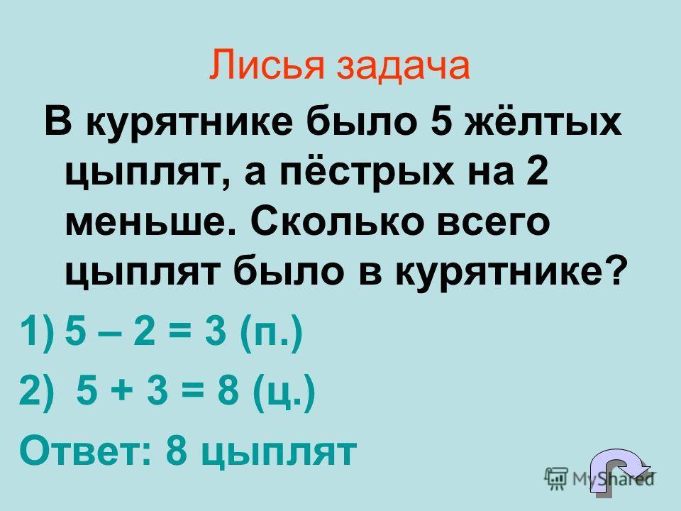 Лисья задача В курятнике было 5 жёлтых цыплят, а пёстрых на 2 меньше. Сколько всего цыплят было в курятнике? 1)5 – 2 = 3 (п.) 2) 5 + 3 = 8 (ц.) Ответ: 8 цыплят
