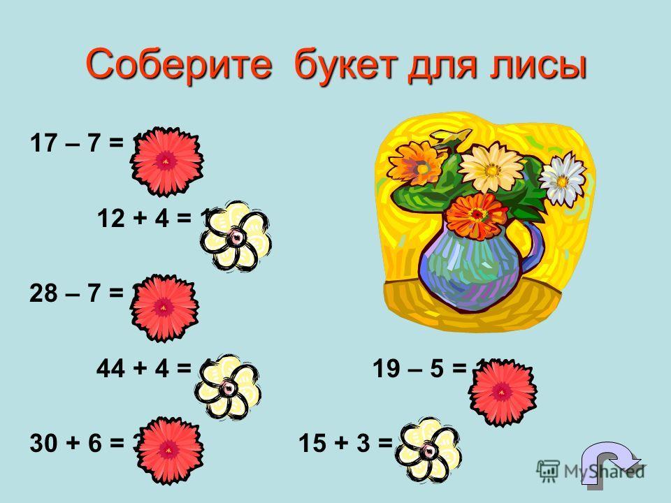 Соберите букет для лисы 17 – 7 = 10 12 + 4 = 16 28 – 7 = 21 44 + 4 = 48 19 – 5 = 14 30 + 6 = 3615 + 3 = 18