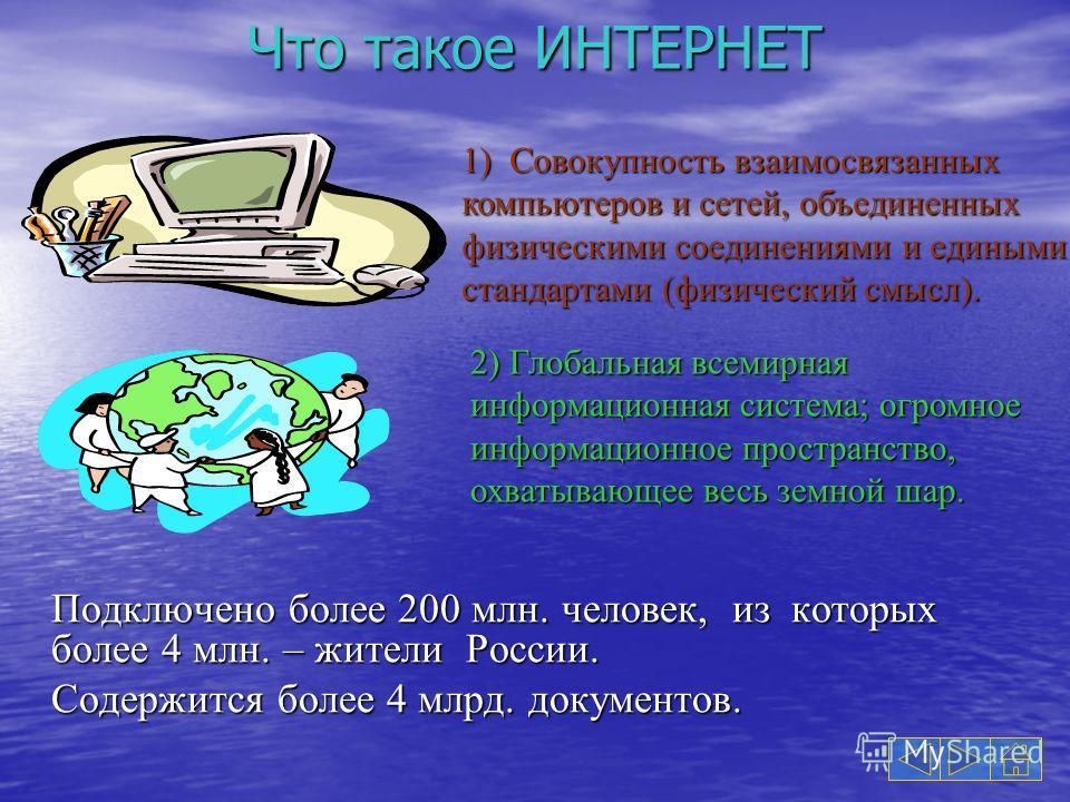 Что такое ИНТЕРНЕТ Подключено более 200 млн. человек, из которых более 4 млн. – жители России. Содержится более 4 млрд. документов. 1) Совокупность взаимосвязанных компьютеров и сетей, объединенных физическими соединениями и едиными стандартами (физи