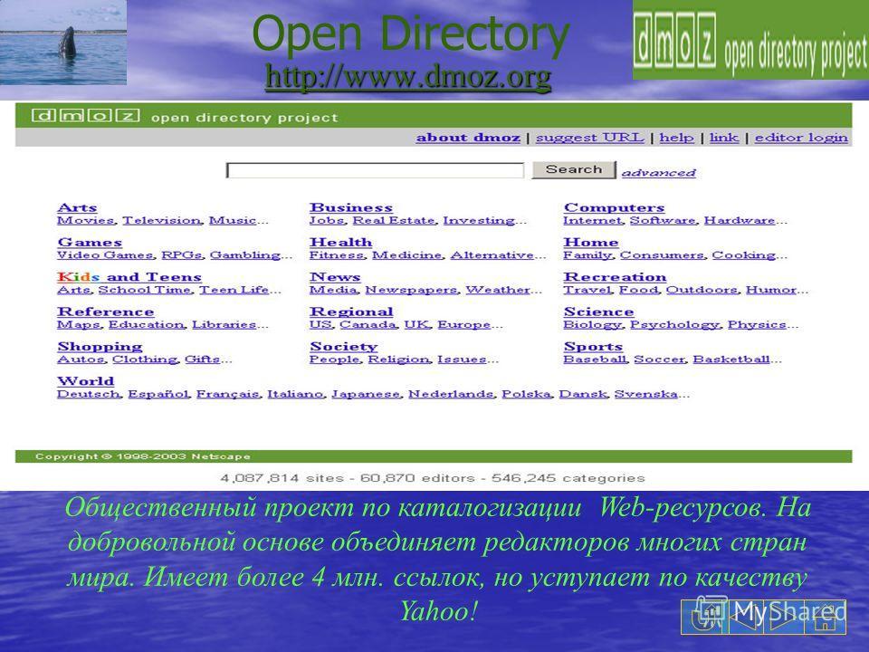 http://www.dmoz.org Общественный проект по каталогизации Web-ресурсов. На добровольной основе объединяет редакторов многих стран мира. Имеет более 4 млн. ссылок, но уступает по качеству Yahoo! Open Directory