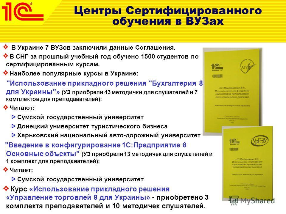 Центры Сертифицированного обучения в ВУЗах В Украине 7 ВУЗов заключили данные Соглашения. В СНГ за прошлый учебный год обучено 1500 студентов по сертифицированным курсам. Наиболее популярные курсы в Украине: