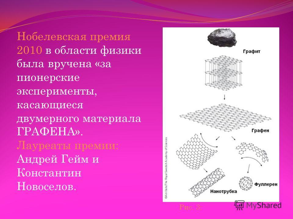 Нобелевская премия 2010 в области физики была вручена «за пионерские эксперименты, касающиеся двумерного материала ГРАФЕНА». Лауреаты премии: Андрей Гейм и Константин Новоселов. Рис. 3:
