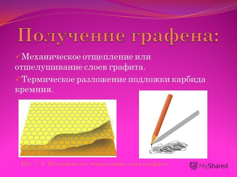 Механическое отщепление или отшелушивание слоев графита. Термическое разложение подложки карбида кремния. Рис. 7, 8: Механическое отщепление слоев графита.