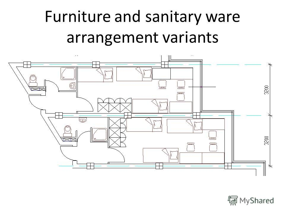 Furniture and sanitary ware arrangement variants