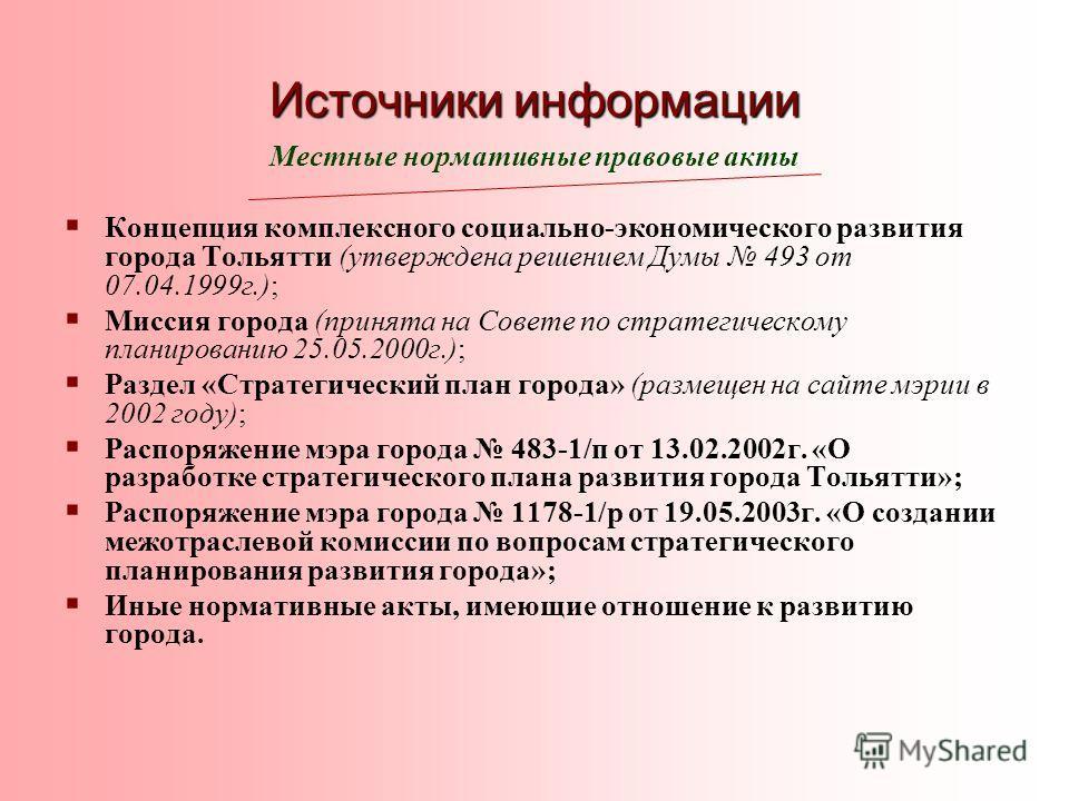 Источники информации Местные нормативные правовые акты Концепция комплексного социально-экономического развития города Тольятти (утверждена решением Думы 493 от 07.04.1999г.); Миссия города (принята на Совете по стратегическому планированию 25.05.200