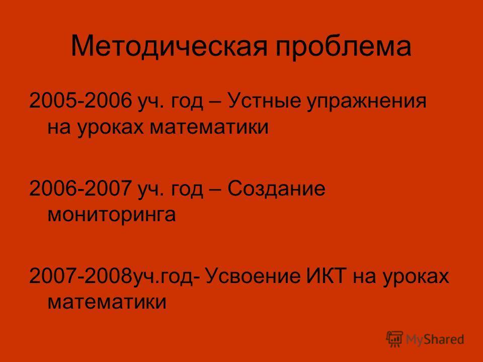 Методическая проблема 2005-2006 уч. год – Устные упражнения на уроках математики 2006-2007 уч. год – Создание мониторинга 2007-2008уч.год- Усвоение ИКТ на уроках математики