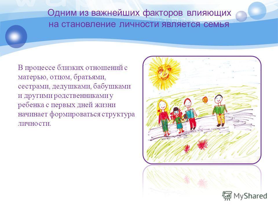 Одним из важнейших факторов влияющих на становление личности является семья В процессе близких отношений с матерью, отцом, братьями, сестрами, дедушками, бабушками и другими родственниками у ребенка с первых дней жизни начинает формироваться структур
