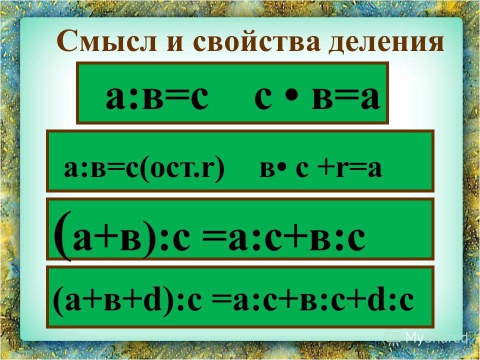 а:в=с с в=а Смысл и свойства деления а:в=с(ост.r) в с +r=а ( а+в):с =а:с+в:с (а+в+d):с =а:с+в:с+d:с