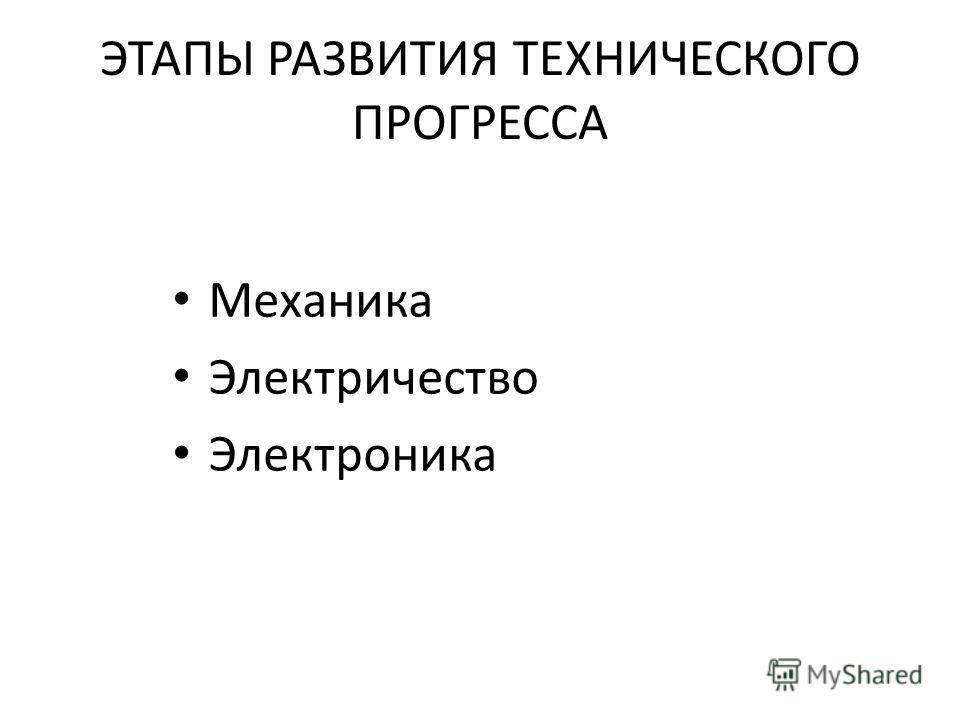ЭТАПЫ РАЗВИТИЯ ТЕХНИЧЕСКОГО ПРОГРЕССА Механика Электричество Электроника