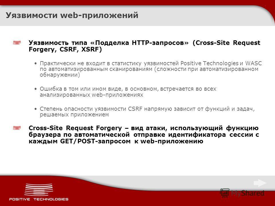 Уязвимости web-приложений Уязвимость типа «Подделка HTTP-запросов» (Cross-Site Request Forgery, CSRF, XSRF) Практически не входит в статистику уязвимостей Positive Technologies и WASC по автоматизированным сканированиям (сложности при автоматизирован