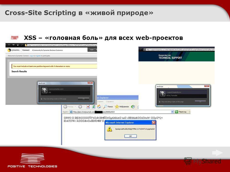 XSS – «головная боль» для всех web-проектов Cross-Site Scripting в «живой природе»