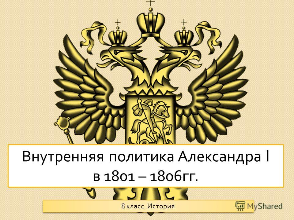Внутренняя политика Александра I в 1801 – 1806 гг. 8 класс. История