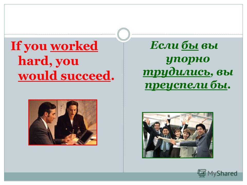 If you worked hard, you would succeed. Если бы вы упорно трудились, вы преуспели бы.