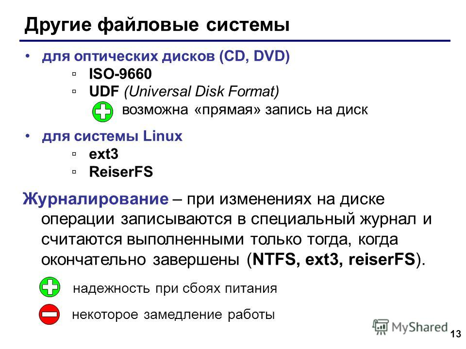 13 Другие файловые системы для оптических дисков (CD, DVD) ISO-9660 UDF (Universal Disk Format) возможна «прямая» запись на диск для системы Linux ext3 ReiserFS Журналирование – при изменениях на диске операции записываются в специальный журнал и счи