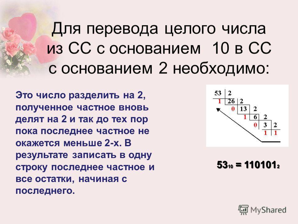 53 10 = 110101 2 Это число разделить на 2, полученное частное вновь делят на 2 и так до тех пор пока последнее частное не окажется меньше 2-х. В результате записать в одну строку последнее частное и все остатки, начиная с последнего.