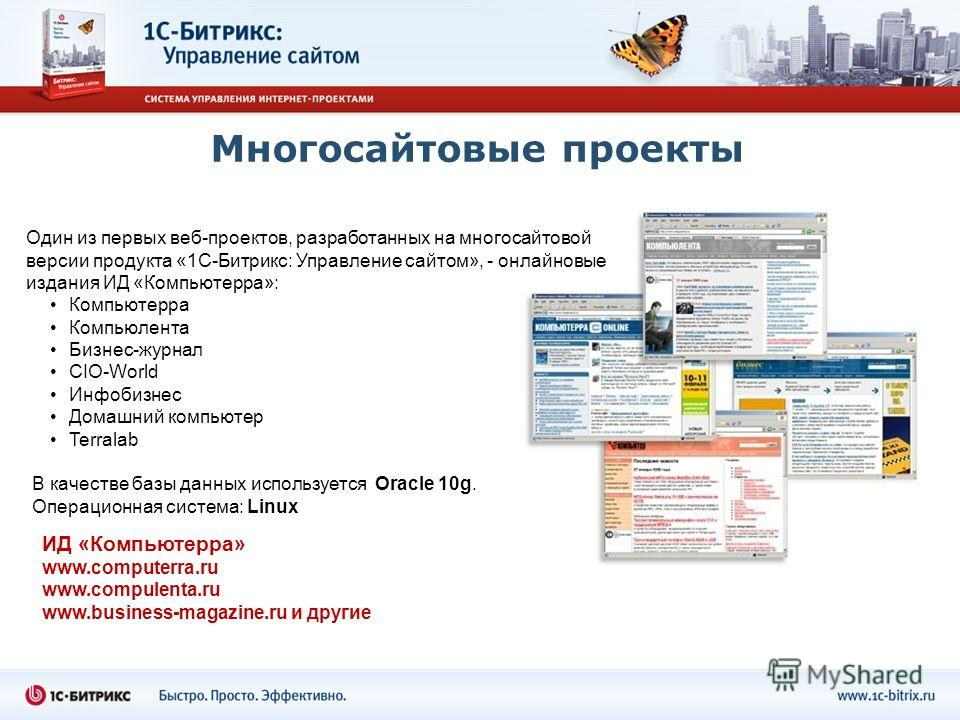 Многосайтовые проекты ИД «Компьютерра» www.computerra.ru www.compulenta.ru www.business-magazine.ru и другие Компьютерра Компьюлента Бизнес-журнал CIO-World Инфобизнес Домашний компьютер Terralab Один из первых веб-проектов, разработанных на многосай