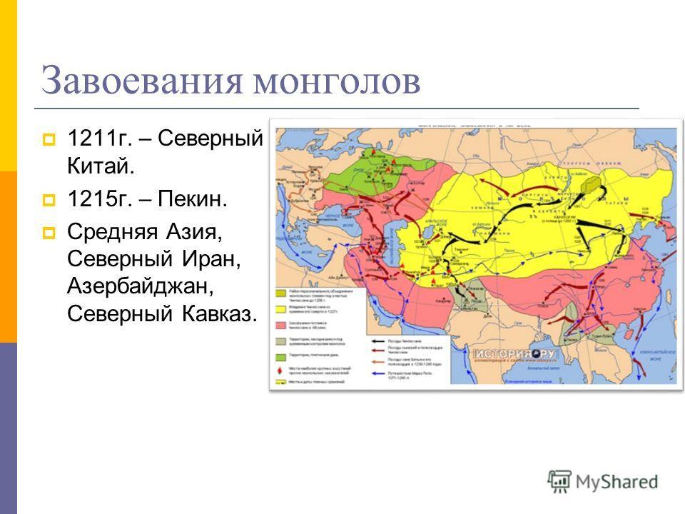 Завоевания монголов 1211г. – Северный Китай. 1215г. – Пекин. Средняя Азия, Северный Иран, Азербайджан, Северный Кавказ.