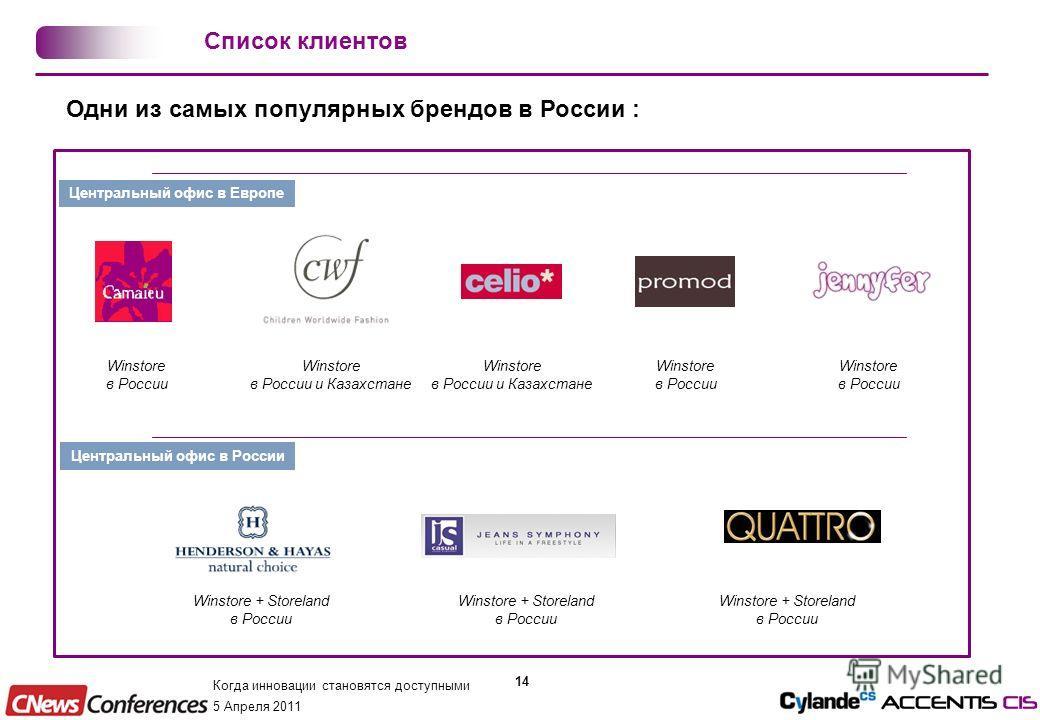 Когда инновации становятся доступными 5 Апреля 2011 14 Одни из самых популярных брендов в России : Центральный офис в Европе Центральный офис в России Winstore в России Winstore в России и Казахстане Winstore в России Winstore в России Winstore в Рос