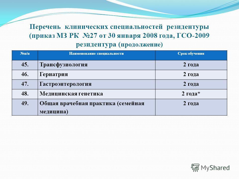 Перечень клинических специальностей резидентуры (приказ МЗ РК 27 от 30 января 2008 года, ГСО-2009 резидентура ( продолжение) п/пНаименование специальностиСрок обучения 45.Трансфузиология2 года 46.Гериатрия2 года 47.Гастроэнтерология2 года 48.Медицинс