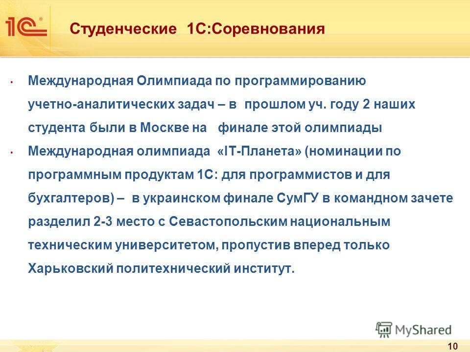 Студенческие 1С:Соревнования Международная Олимпиада по программированию учетно-аналитических задач – в прошлом уч. году 2 наших студента были в Москве на финале этой олимпиады Международная олимпиада «IT-Планета» (номинации по программным продуктам
