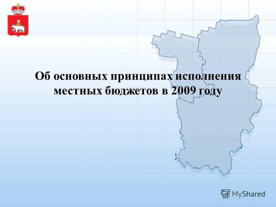 Об основных принципах исполнения местных бюджетов в 2009 году