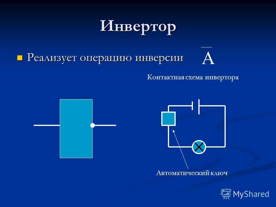 Инвертор Реализует операцию инверсии Реализует операцию инверсии Контактная схема инвертора Автоматический ключ А