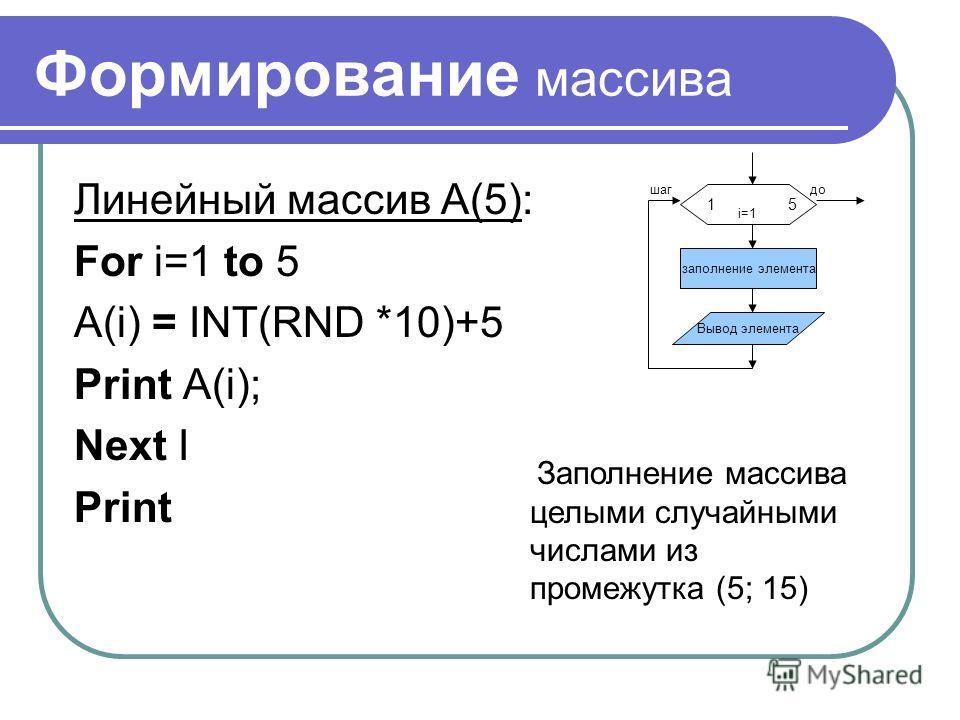 Формирование массива Линейный массив A(5): For i=1 to 5 A(i) = INT(RND *10)+5 Print A(i); Next I Print Заполнение массива целыми случайными числами из промежутка (5; 15) 1 5 заполнение элемента Вывод элемента шагдо i=1