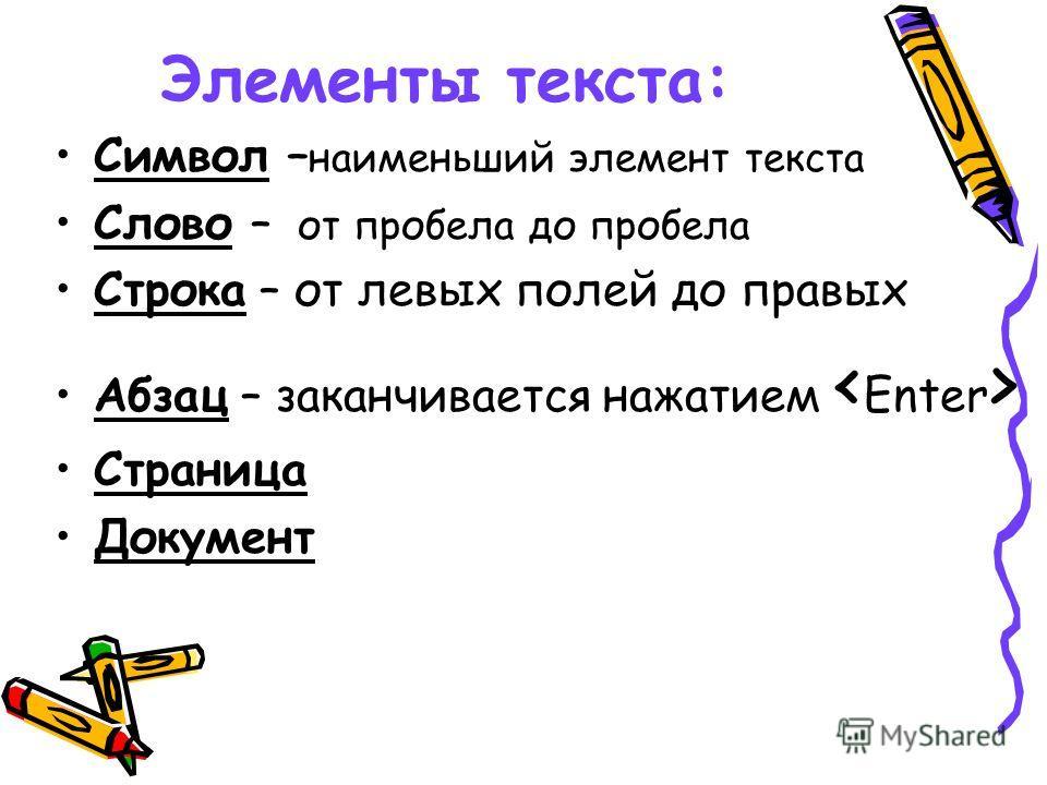 Элементы текста: Символ – наименьший элемент текста Слово – от пробела до пробела Строка – от левых полей до правых Абзац – заканчивается нажатием Страница Документ