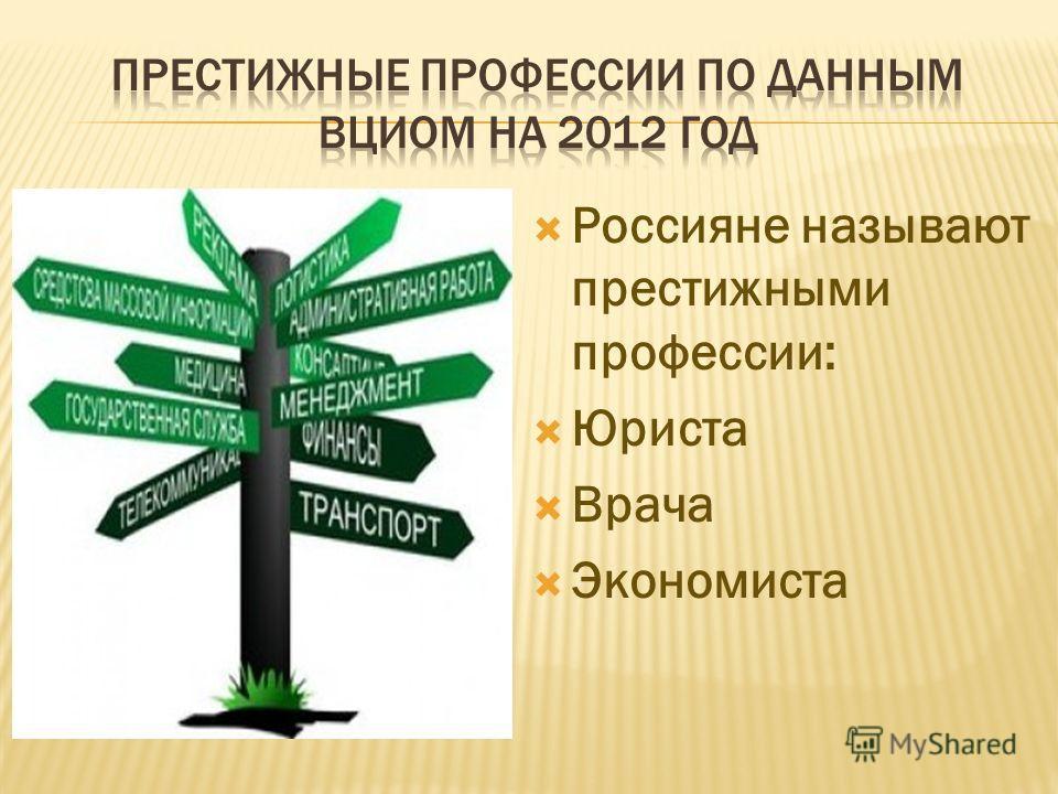 Россияне называют престижными профессии: Юриста Врача Экономиста