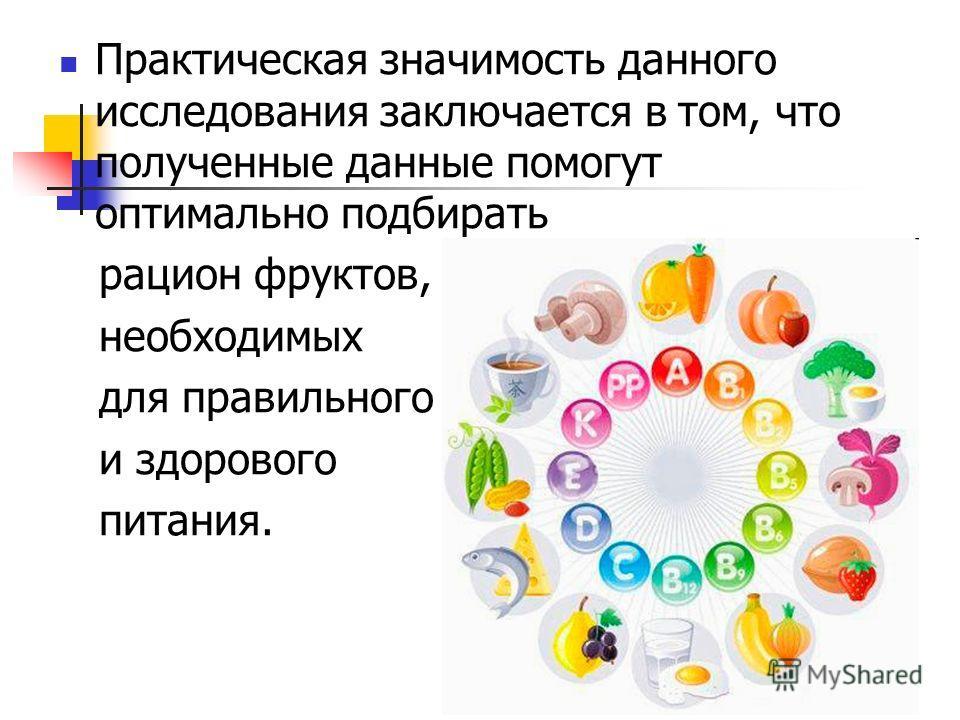 Практическая значимость данного исследования заключается в том, что полученные данные помогут оптимально подбирать рацион фруктов, необходимых для правильного и здорового питания.