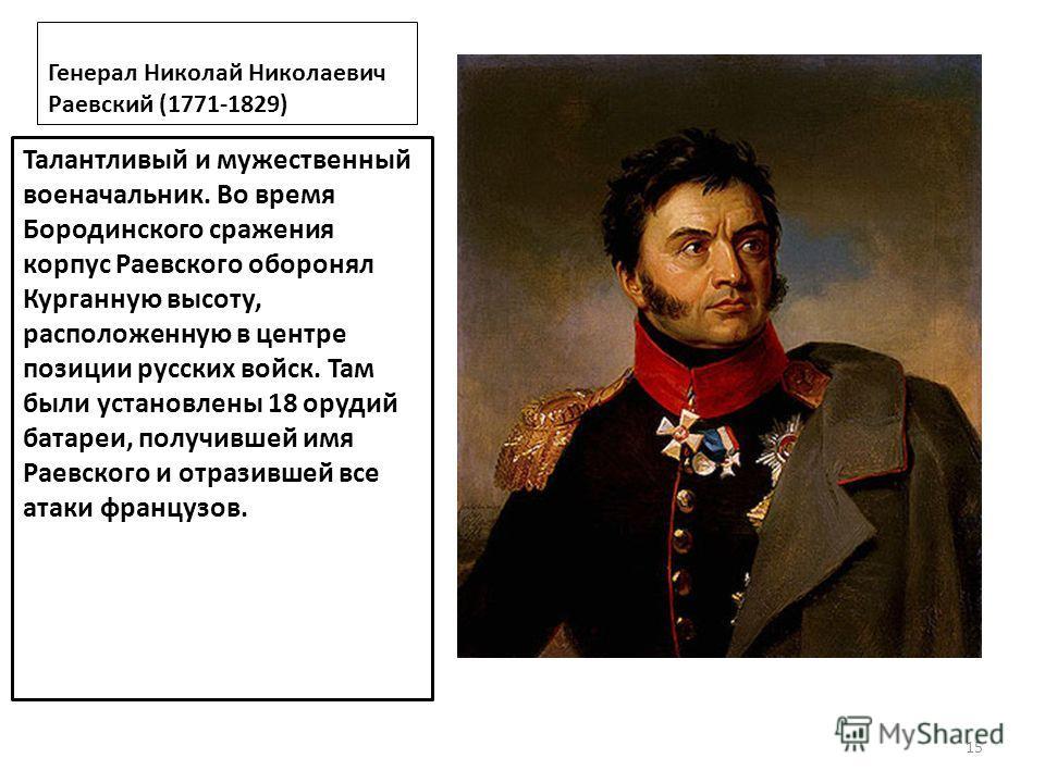 Генерал Николай Николаевич Раевский (1771-1829) Талантливый и мужественный военачальник. Во время Бородинского сражения корпус Раевского оборонял Курганную высоту, расположенную в центре позиции русских войск. Там были установлены 18 орудий батареи,