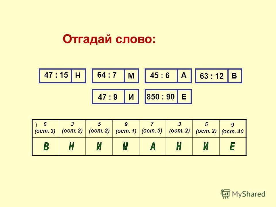 Отгадай слово: ) 47 : 15 Н 64 : 7 М А В И Е 45 : 6 63 : 12 47 : 9 850 : 90 5 (ост. 3) 3 (ост. 2) 5 (ост. 2) 9 (ост. 1) 7 (ост. 3) 5 (ост. 2) 3 (ост. 2) 9 (ост. 40