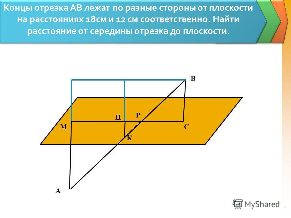 Концы отрезка АВ лежат по разные стороны от плоскости на расстояниях 18см и 12 см соответственно. Найти расстояние от середины отрезка до плоскости. А В СМ К Р Н