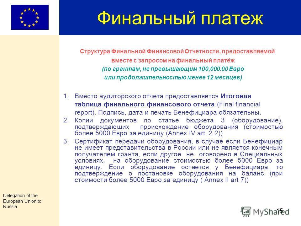 Delegation of the European Union to Russia 14 Структура Финальной Финансовой Отчетности, предоставляемой вместе с запросом на финальный платёж (Annex V) (по грантам, превышающим 100,000.00 Евро и продолжительностью более 12 месяцев ) 5. Списки, прису