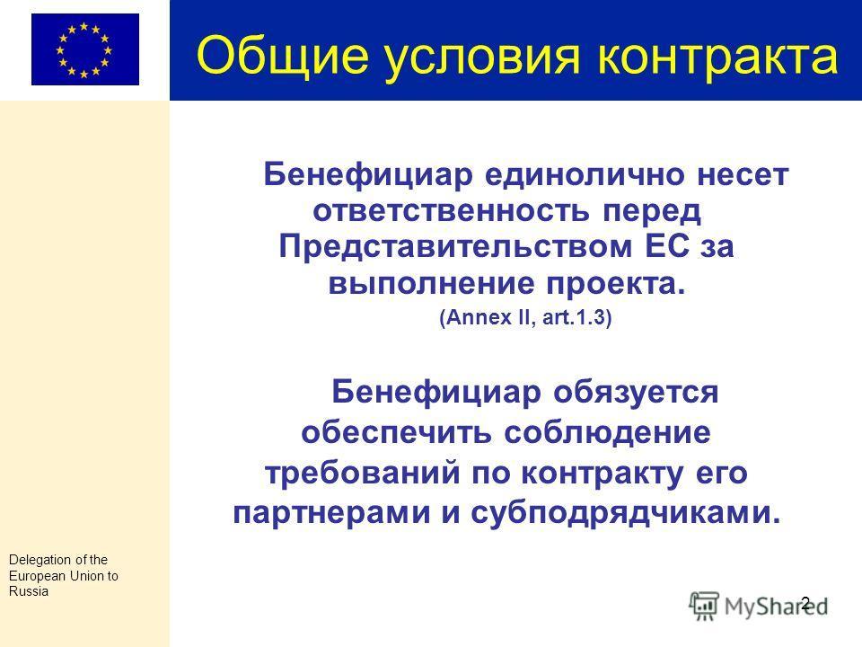 Delegation of the European Union to Russia 1 Ваш контракт состоит из следующих документов: Наши требования к финансовой отчетности основаны на перечисленных документах Special conditions + Annexes: Annex I Description of the Action Annex II General c