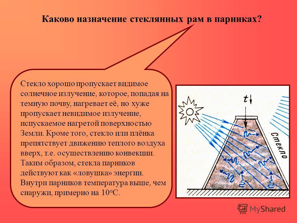 Стекло хорошо пропускает видимое солнечное излучение, которое, попадая на темную почву, нагревает её, но хуже пропускает невидимое излучение, испускаемое нагретой поверхностью Земли. Кроме того, стекло или плёнка препятствует движению теплого воздуха