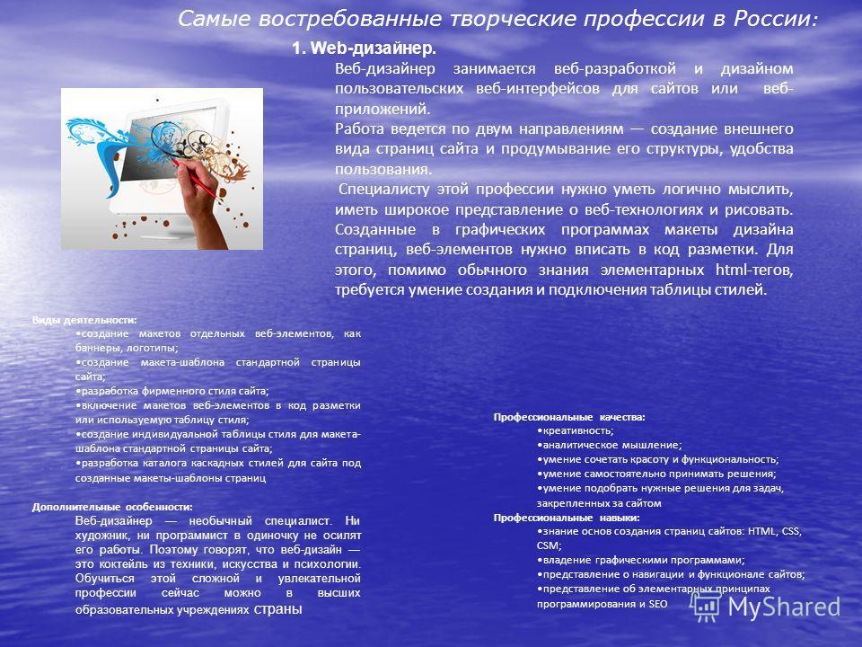 Самые востребованные творческие профессии в России : 1. Web-дизайнер. Веб-дизайнер занимается веб-разработкой и дизайном пользовательских веб-интерфейсов для сайтов или веб- приложений. Работа ведется по двум направлениям создание внешнего вида стран