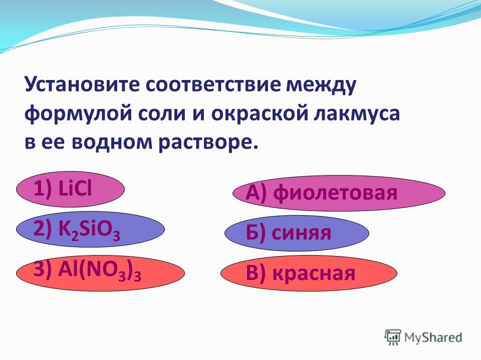 Установите соответствие между формулой соли и типом ее гидролиза. 1) HgCl 2 2) Al(NO 3 ) 3 3) Li 2 S A) по катиону Б) по аниону В) по катиону и аниону